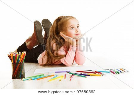 School Kid Thinking, Education Inspiration Concept, Dreaming Inspiring Child, Student Girl Drawing O