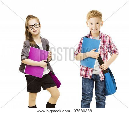 School Kids Group, Children In Uniform On White, Little Girl Boy With Student Folder, Seven Years Ol