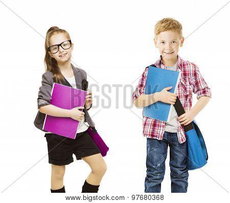 School Kids Group, Children In Uniform On White, Little Girl Boy With Student Folder, Seven Years Ol