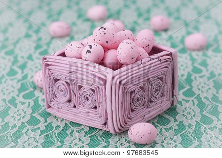 Pink Easter Eggs In A Pink Recycled Paper Basket