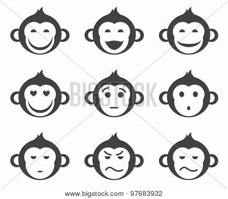 Monkeys, Smiley, Small, Icon,...