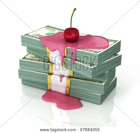 Stack Of Dollars Poured Syrup With A Cherry On Top. Concept Of Persent Or . Money Is Served!