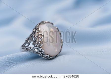 Silver Ring With White Stone