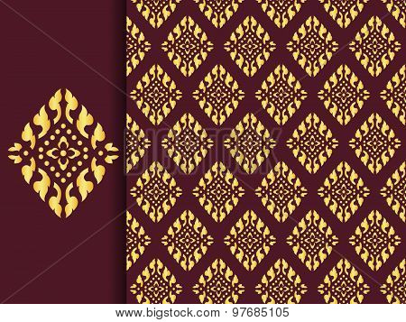 Asian traditional art Design Vector, Thai traditional design ( Lai Thai pattern )