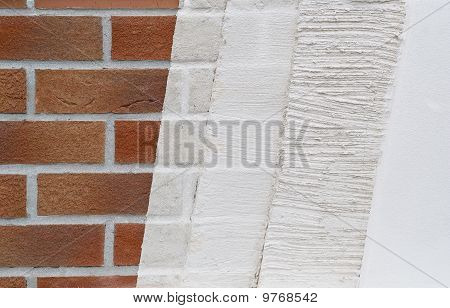 Sample of plastering layers at a house wall
