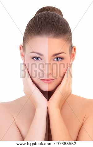 Sunbathing Concept - Beautiful Woman Before And After Suntanning Isolated On White
