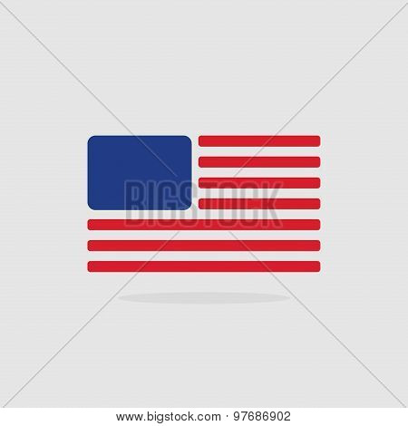 Usa Flag, Stylized American Flag Of Geometrical Elements.. Vector Illustration