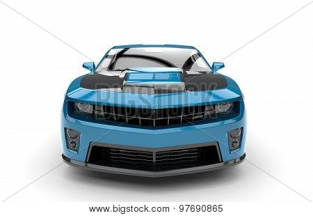 Front Of A Blue Sport Car