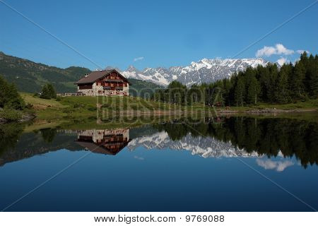Mountain lake with house