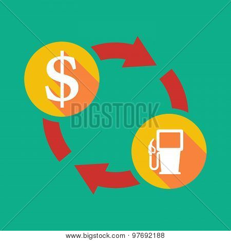 Exchange Sign With A Dollar Sign And A Gas Station