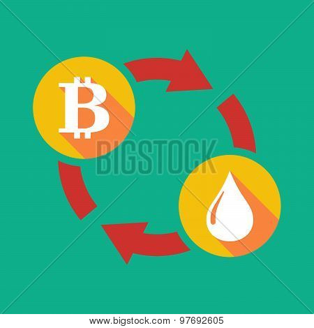 Illustration of an exchange sign with a bit coin sign and a fuel drop poster