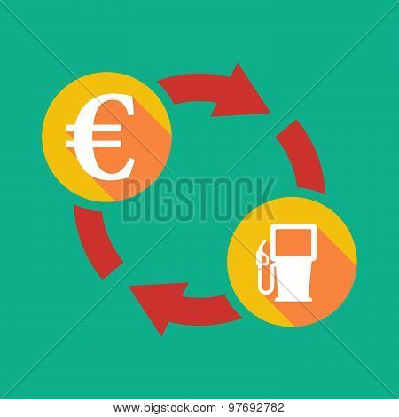 Exchange Sign With An Euro Sign And  A Gas Station