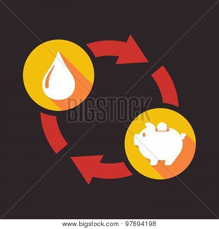 Exchange Sign With A Fuel Drop And A Piggy Bank