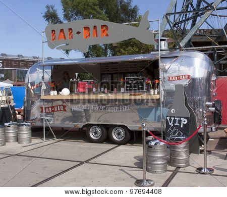Airstream Caravan In Use As A Food Truck In Use As A Bar In Amsterdam