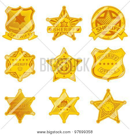 Golden sheriff star badges
