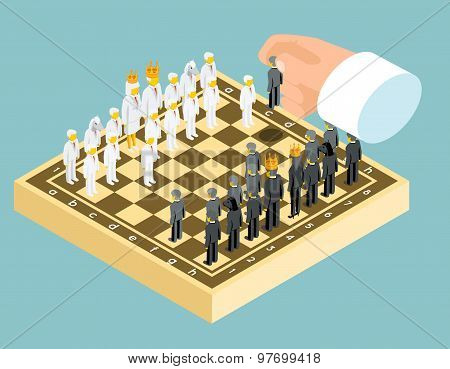 Isometric 3d business chess figures. Business strategy concept