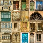 collage  photos of old windows doors and balconies on Malta poster
