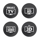 Smart TV mode icon. Widescreen symbol. Full hd 1080p resolution. 3D Television sign. Circles buttons with long flat shadow. Vector poster
