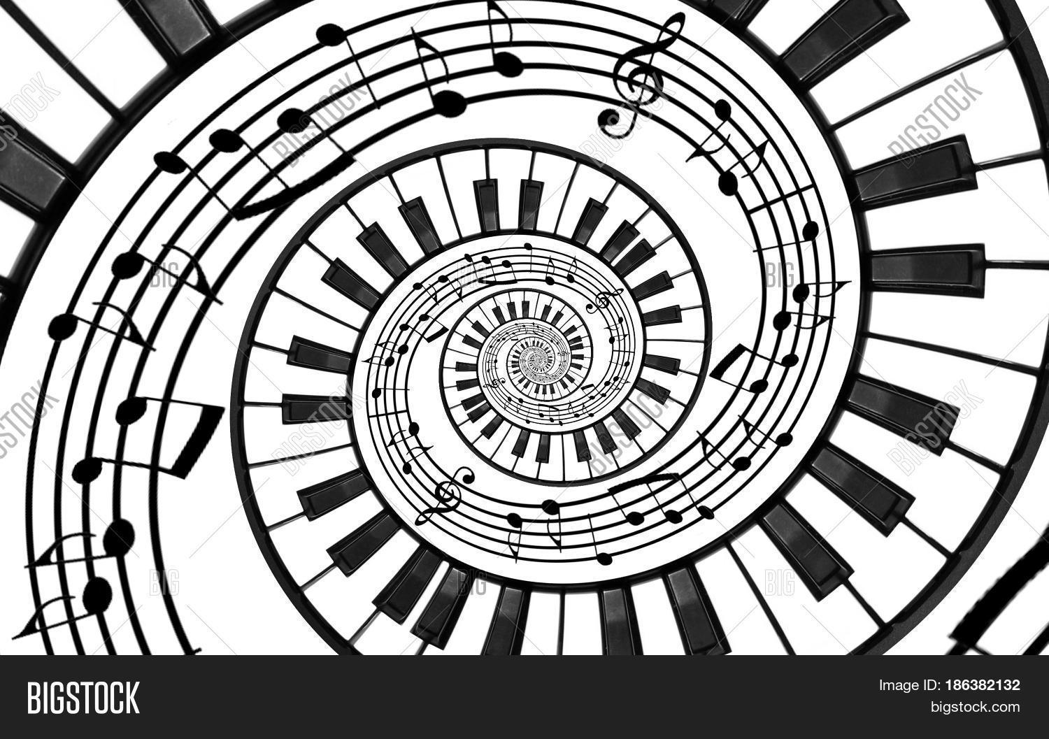 Piano keyboard printed music abstract fractal spiral pattern background black and white piano keys round