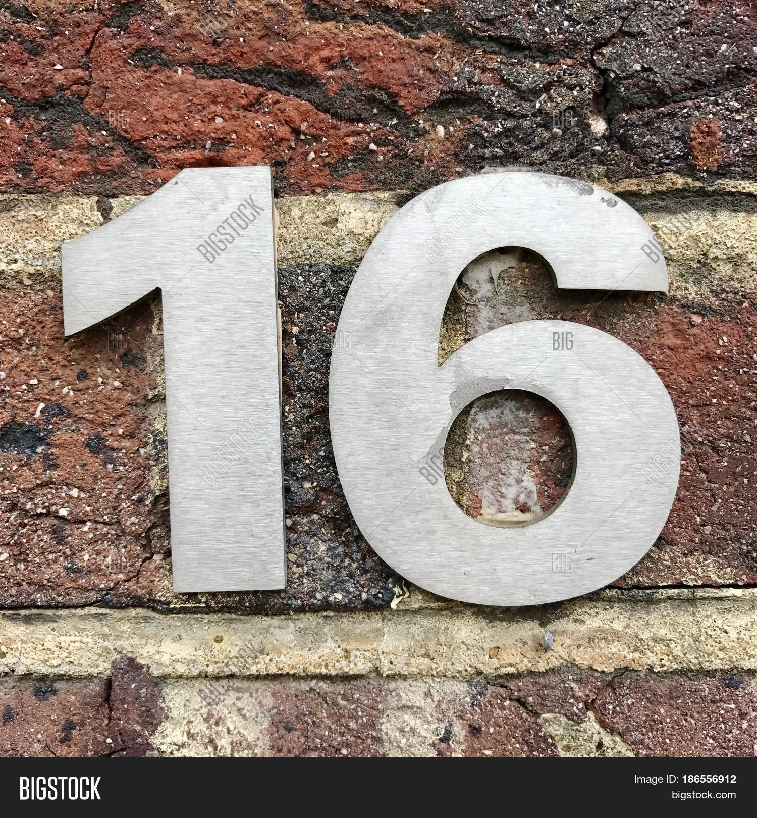 Number 16 sixteen silver metal image photo bigstock for Number 16 house