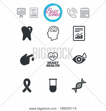 Presentation, report and calendar signs. Medicine, medical health and diagnosis icons. Blood test, dna and neurology signs. Tooth, report symbols. Classic simple flat web icons. Vector