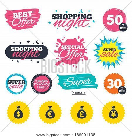 Sale shopping banners. Special offer splash. Money bag icons. Dollar, Euro, Pound and Yen symbols. USD, EUR, GBP and JPY currency signs. Web badges and stickers. Best offer. Vector
