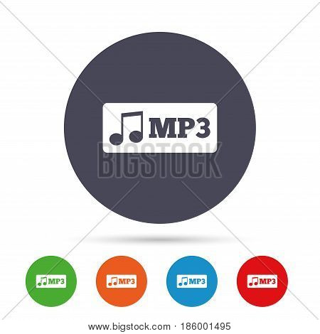 Mp3 music format sign icon. Musical symbol. Round colourful buttons with flat icons. Vector