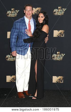 LOS ANGELES - MAY 7:  John Cena, Nikki Bella at the MTV Movie and Television Awards on the Shrine Auditorium on May 7, 2017 in Los Angeles, CA