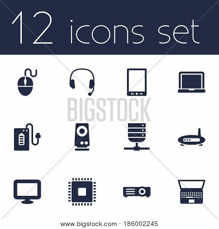 Set Of 12 Laptop Icons Set.Collection Of Laptop, Palmtop, Display And Other Elements.