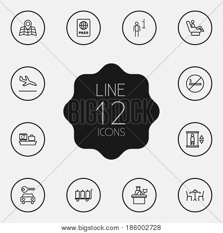Set Of 12 Land Outline Icons Set.Collection Of Car Rent, Certification, No Smoking And Other Elements.