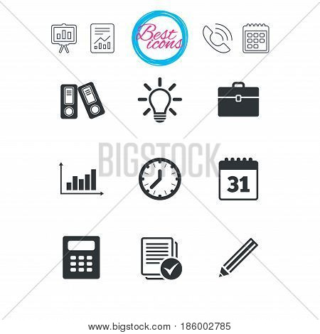Presentation, report and calendar signs. Office, documents and business icons. Accounting, calculator and case signs. Ideas, calendar and statistics symbols. Classic simple flat web icons. Vector
