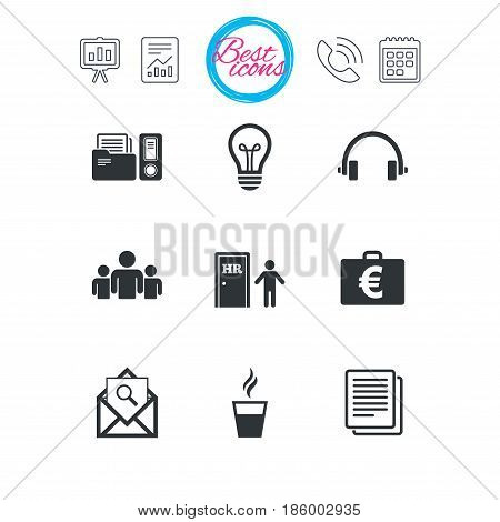 Presentation, report and calendar signs. Office, documents and business icons. Accounting, human resources and group signs. Mail, ideas and money case symbols. Classic simple flat web icons. Vector