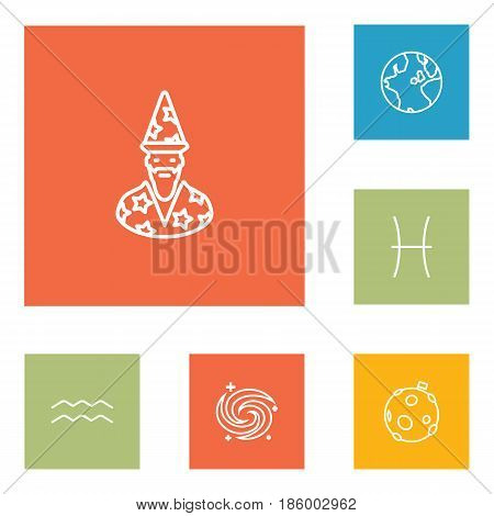 Set Of 6 Astrology Outline Icons Set.Collection Of Moon, Pisces, Galaxy And Other Elements.
