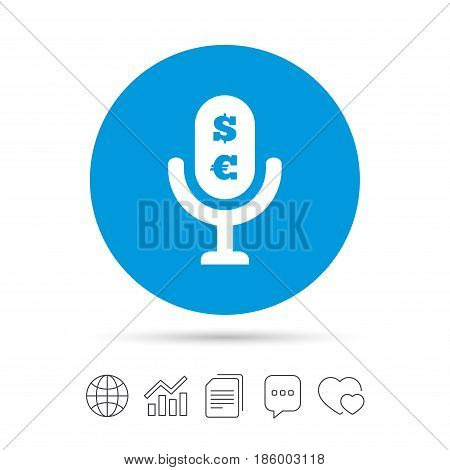 Microphone icon. Speaker symbol. Paid music sign. Copy files, chat speech bubble and chart web icons. Vector