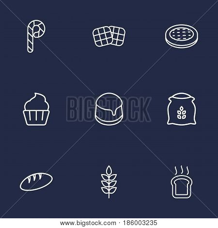 Set Of 9 Oven Outline Icons Set.Collection Of Apple Pie, Candy Cane, Toast Elements.