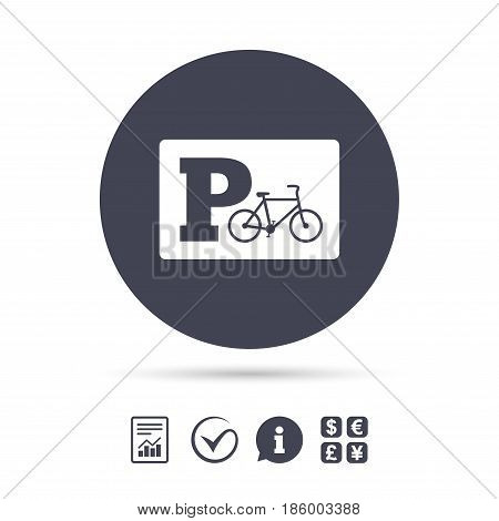 Parking sign icon. Bicycle parking symbol. Report document, information and check tick icons. Currency exchange. Vector