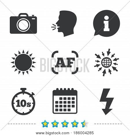 Photo camera icon. Flash light and autofocus AF symbols. Stopwatch timer 10 seconds sign. Information, go to web and calendar icons. Sun and loud speak symbol. Vector