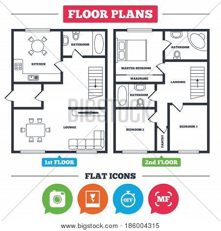 Architecture plan with furniture. House floor plan. Hipster retro photo camera icon. Manual focus symbols. Stopwatch timer off sign. Macro symbol. Kitchen, lounge and bathroom. Vector