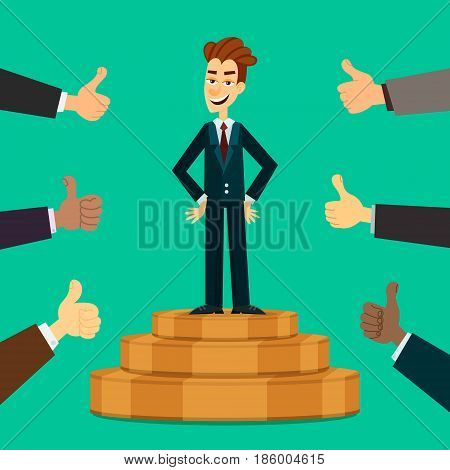 Happy and proud young businessman or manager on the podium with many thumbs up hands around him. Business compliment concept. EPS10 vector illustration.