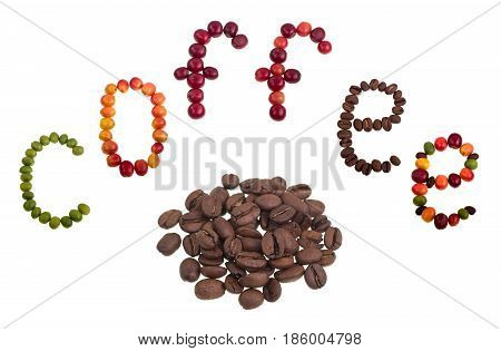 Roasted coffee beans under the word coffee