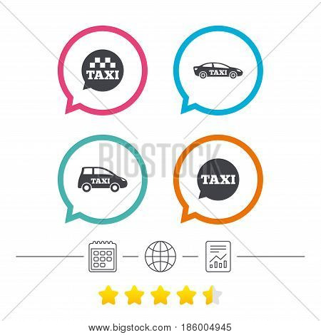 Public transport icons. Taxi speech bubble signs. Car transport symbol. Calendar, internet globe and report linear icons. Star vote ranking. Vector