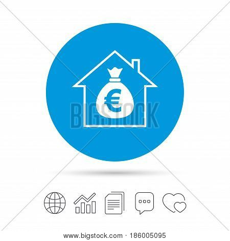 Mortgage sign icon. Real estate symbol. Bank loans. Copy files, chat speech bubble and chart web icons. Vector