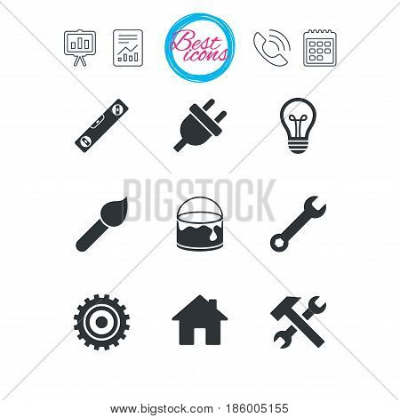 Presentation, report and calendar signs. Repair, construction icons. Hammer, wrench tool and cogwheel signs. Electric plug, lamp and house symbols. Classic simple flat web icons. Vector