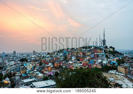 Panoramic photo of Guayaquil city at sunset Ecuador South America
