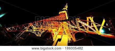 TOKYO JAPAN - APRIL 23 2017: View from below on Tokyo Tower in the night. Eiffel Tower in Tokyo