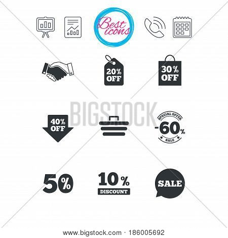 Presentation, report and calendar signs. Sale discounts icon. Shopping, handshake and cart signs. 10, 50 and 60 percent off. Special offer symbols. Classic simple flat web icons. Vector