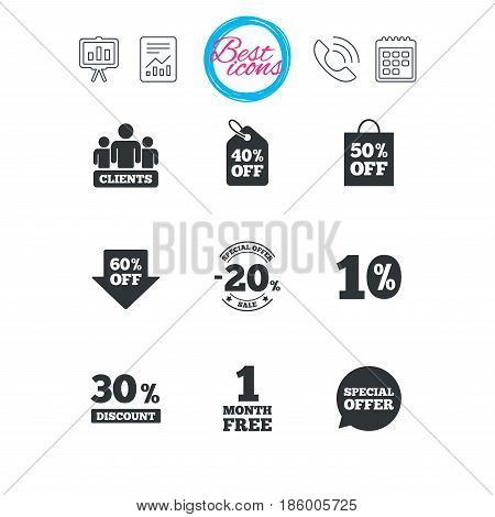 Presentation, report and calendar signs. Sale discounts icon. Shopping, clients and speech bubble signs. 20, 30, 40 and 50 percent off. Special offer symbols. Classic simple flat web icons. Vector