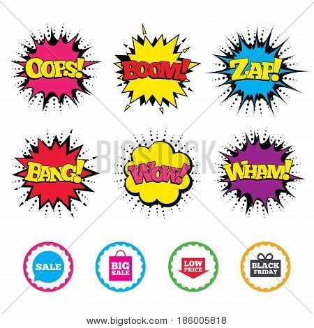 Comic Wow, Oops, Boom and Wham sound effects. Sale speech bubble icon. Black friday gift box symbol. Big sale shopping bag. Low price arrow sign. Zap speech bubbles in pop art. Vector