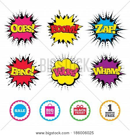 Comic Wow, Oops, Boom and Wham sound effects. Sale speech bubble icon. Black friday gift box symbol. Big sale shopping bag. First month free sign. Zap speech bubbles in pop art. Vector