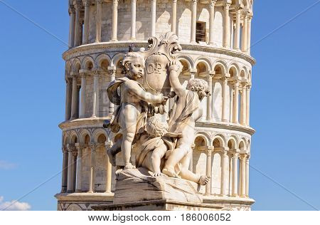 A pigeon sitting on the head of one of the opa cherubs in front of the Leaning Tower in Pisa, Tuscany, Italy